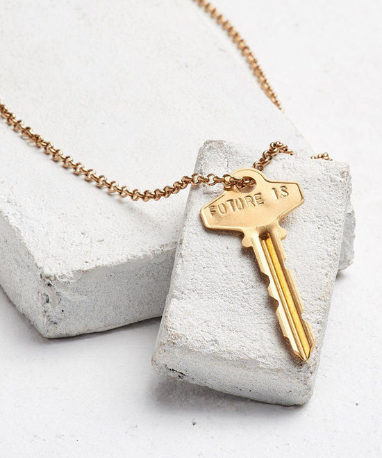 FUTURE IS... Gold Classic Key Necklace Necklaces The Giving Keys CUSTOM GOLD