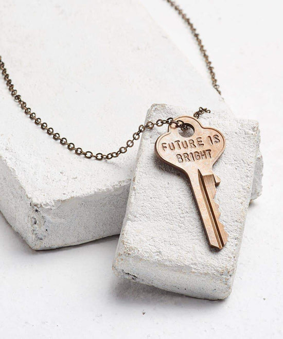 FUTURE IS... Oxidized Brass Classic Key Necklace Necklaces The Giving Keys BRIGHT OXIDIZED BRASS