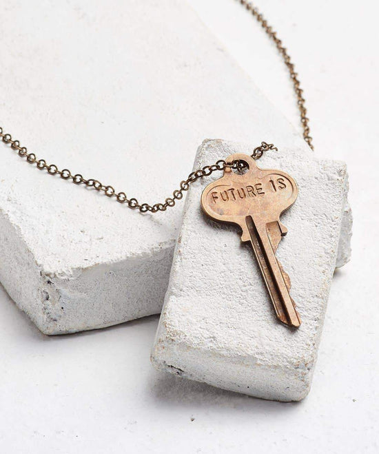 FUTURE IS... Oxidized Brass Classic Key Necklace Necklaces The Giving Keys CUSTOM OXIDIZED BRASS