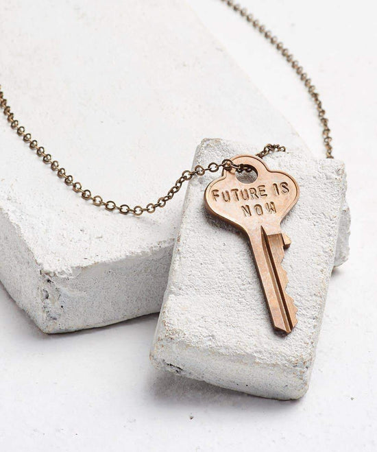 FUTURE IS... Oxidized Brass Classic Key Necklace Necklaces The Giving Keys NOW OXIDIZED BRASS