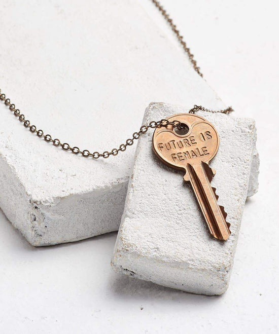 FUTURE IS... Oxidized Brass Classic Key Necklace Necklaces The Giving Keys FEMALE OXIDIZED BRASS