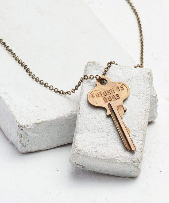 FUTURE IS... Oxidized Brass Classic Key Necklace Necklaces The Giving Keys OURS OXIDIZED BRASS