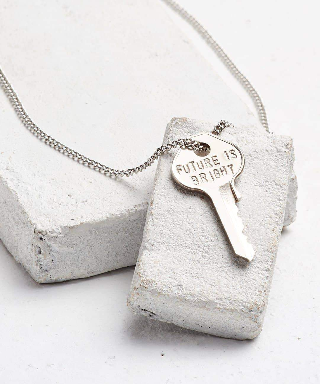 FUTURE IS... Silver Classic Key Necklace Necklaces The Giving Keys BRIGHT SILVER
