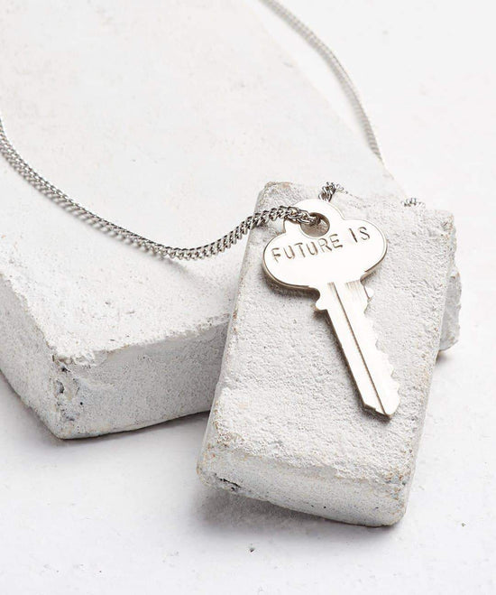 FUTURE IS... Silver Classic Key Necklace Necklaces The Giving Keys CUSTOM SILVER