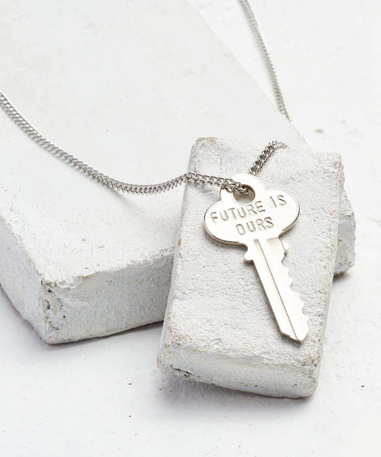 FUTURE IS... Silver Classic Key Necklace Necklaces The Giving Keys OURS SILVER