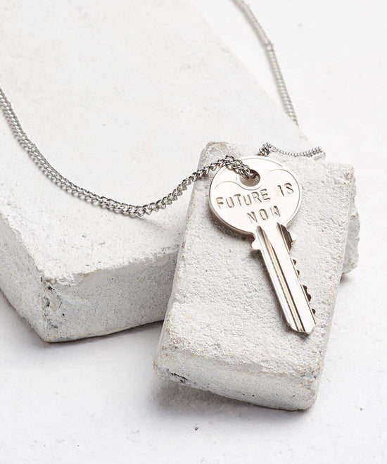 FUTURE IS... Silver Classic Key Necklace Necklaces The Giving Keys NOW SILVER
