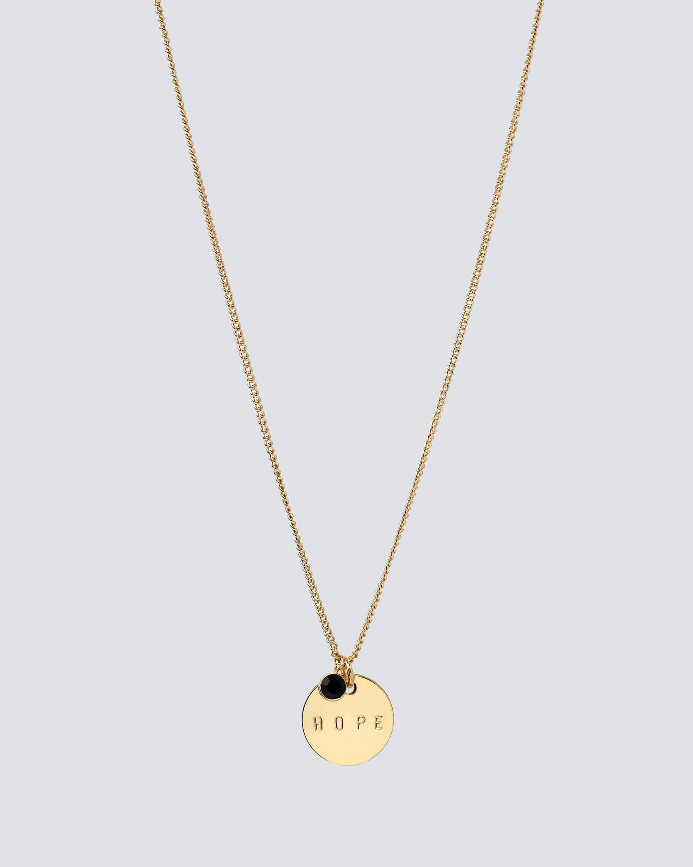 Gold Disc Pendant Necklace With Gemstone Charm Necklaces The Giving Keys Word Assigned by Color Onyx/Hope