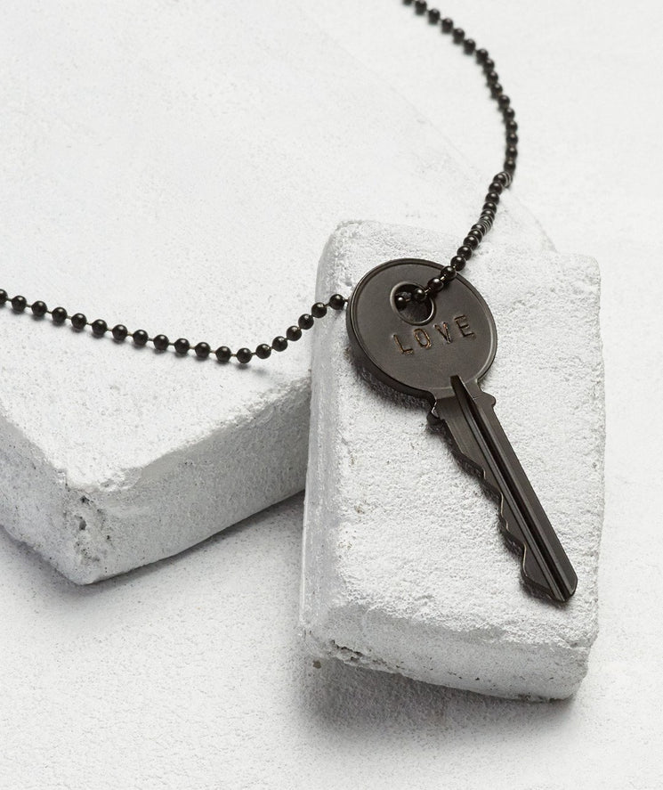 Matte Black Key Necklace
