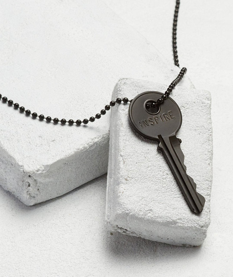 Matte Black Key Necklace - WITH CUSTOM HIDDEN Necklaces The Giving Keys INSPIRE Matte Black