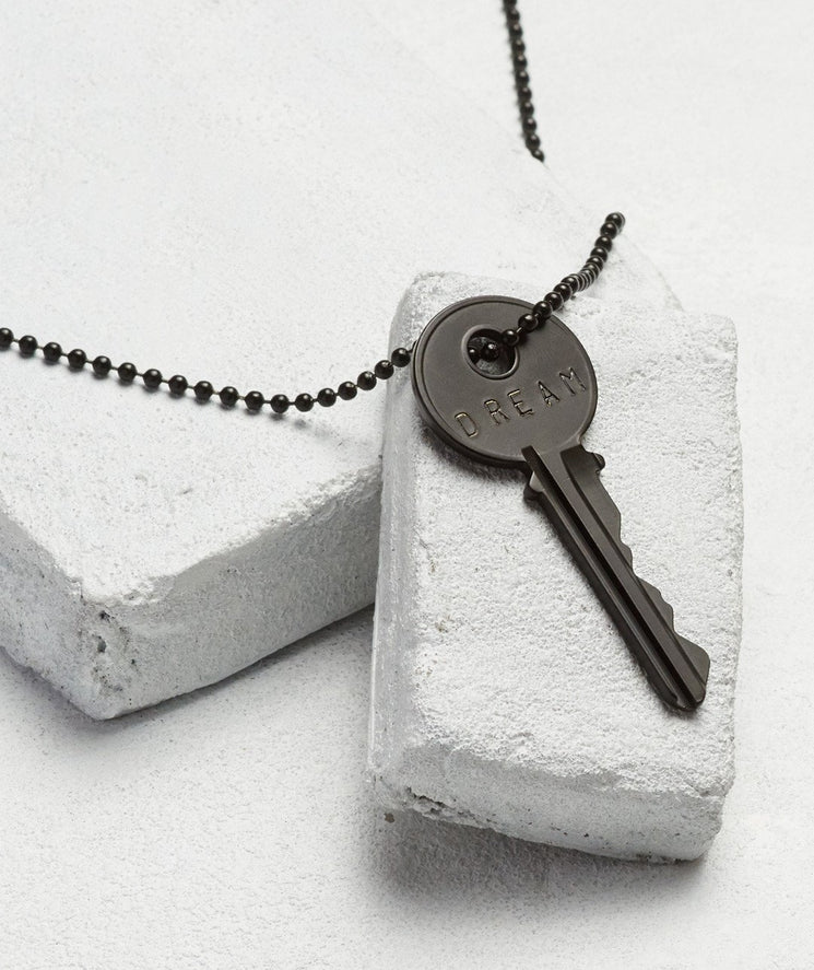Matte Black Key Necklace - WITH CUSTOM HIDDEN Necklaces The Giving Keys DREAM Matte Black