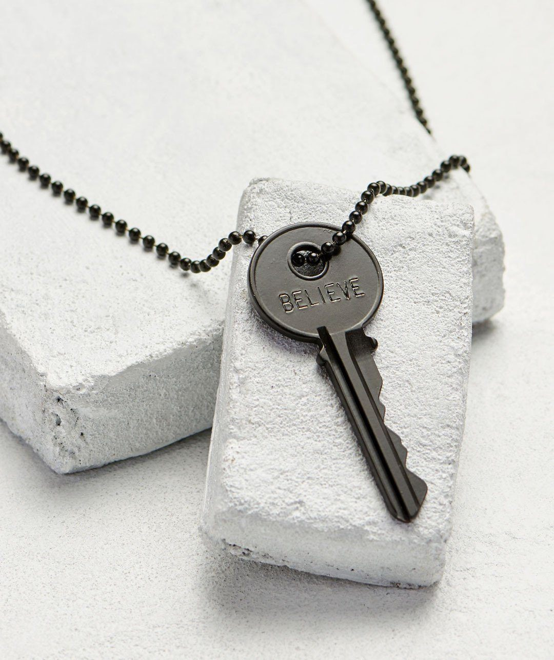 Matte Black Key Necklace - WITH CUSTOM HIDDEN Necklaces The Giving Keys BELIEVE Matte Black