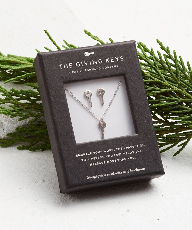 Mini Key Gift Set Necklaces The Giving Keys LOVE Silver