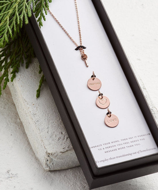 Mini Key Multi Charm Necklace Necklaces The Giving Keys Word Assigned By Color Rose Gold