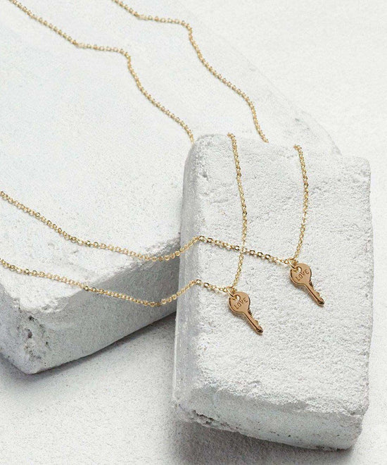 Best Friend Mini Key Necklace Sets Necklaces The Giving Keys LOVE Gold