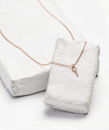 Rose Gold Mini Key Pendant Necklace Necklaces The Giving Keys BELIEVE Rose Gold