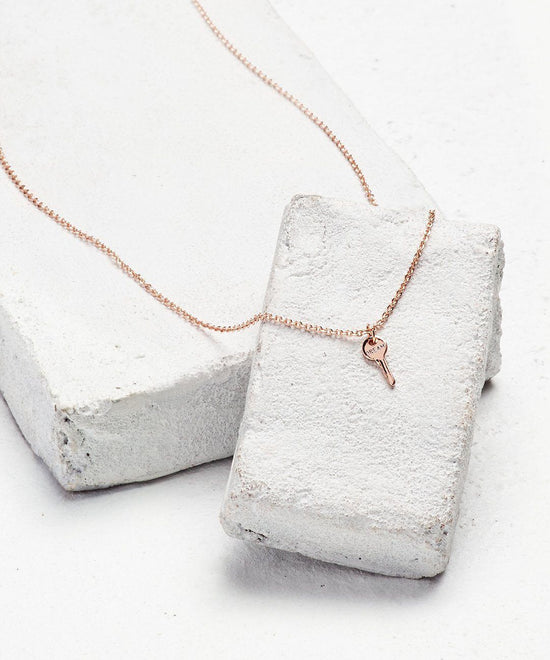 Rose Gold Mini Key Pendant Necklace Necklaces The Giving Keys DREAM Rose Gold