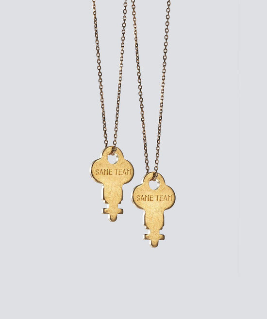 Best Friends Gold Dainty Key Necklace Set Necklaces The Giving Keys SAME TEAM GOLD