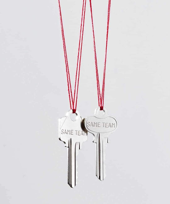 SAME TEAM Red Strand Silver Key Necklace Set Necklaces The Giving Keys SAME TEAM SILVER