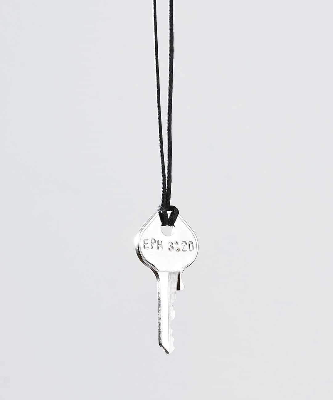 Scripture Classic Key Cord Necklace Necklaces The Giving Keys Eph 3:20 Black