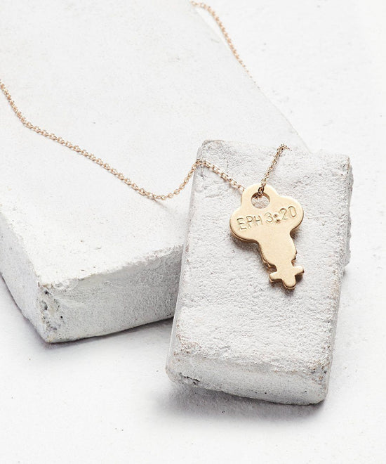 Scripture Dainty Key Necklace Necklaces The Giving Keys Eph 3:20 Dainty Gold