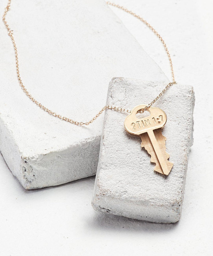 Scripture Dainty Key Necklace Necklaces The Giving Keys 2 Tim 1:7 Dainty Gold