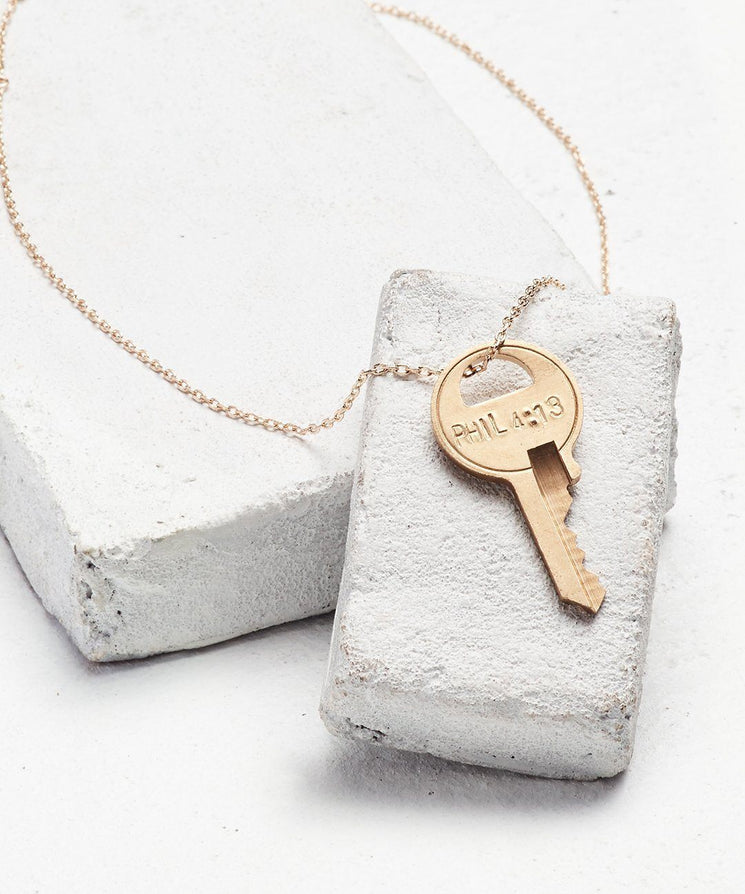 Scripture Dainty Key Necklace Necklaces The Giving Keys Phil 4:13 Dainty Gold