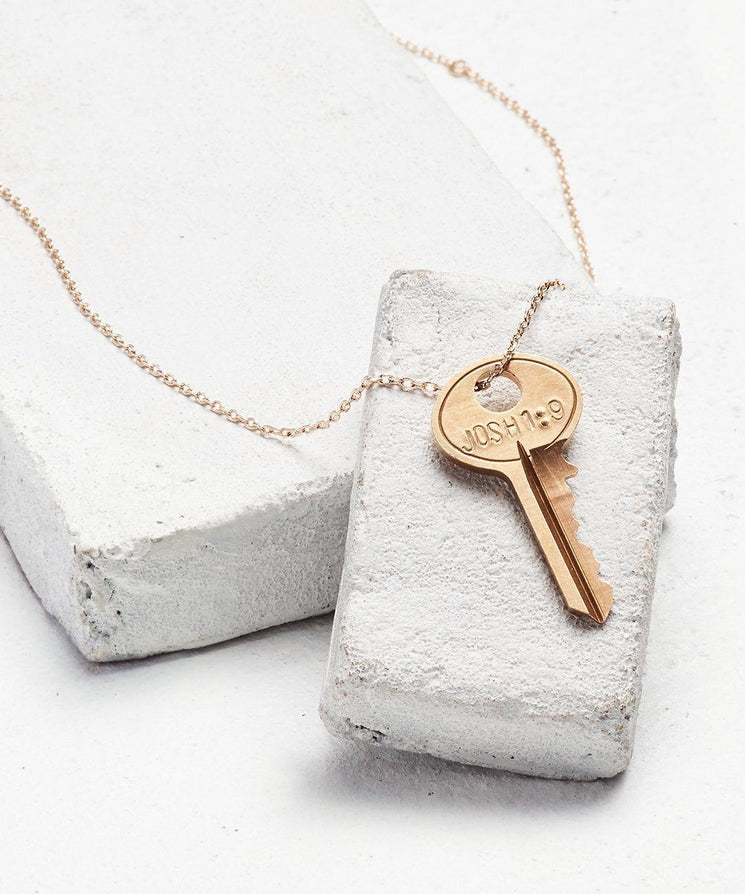 Scripture Dainty Key Necklace Necklaces The Giving Keys Josh 1:9 Dainty Gold