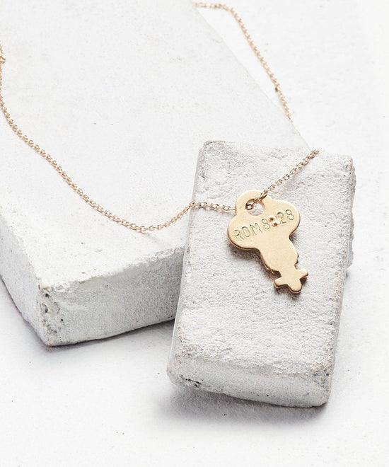 Scripture Dainty Key Necklace Necklaces The Giving Keys Rom 8:28 Dainty Gold