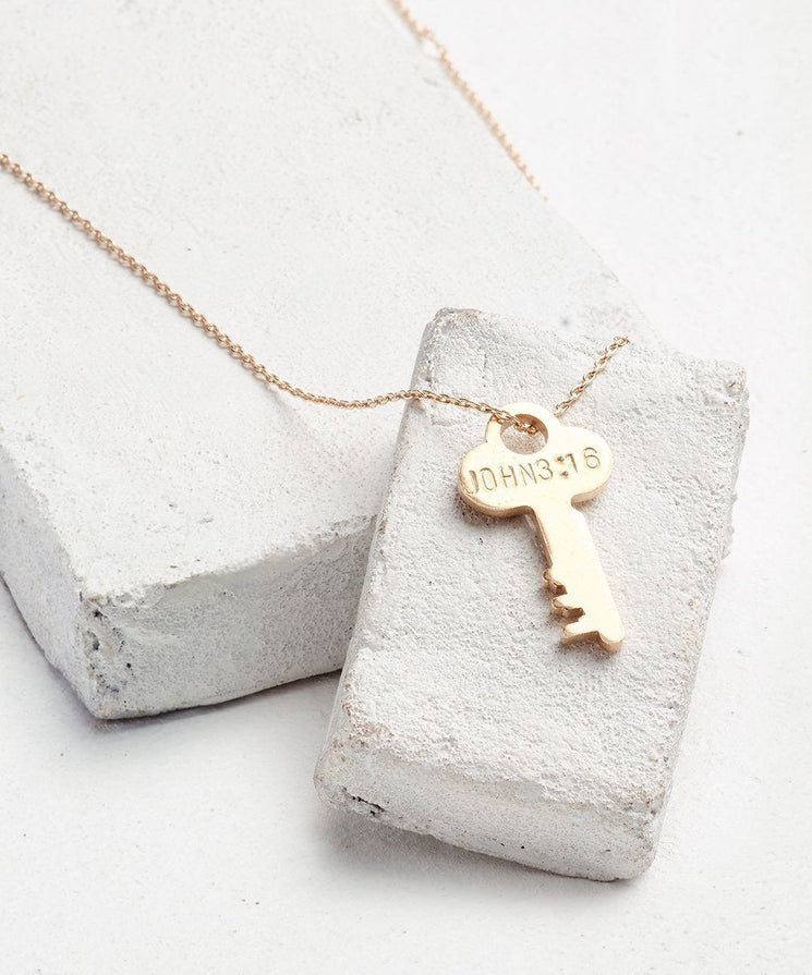 Scripture Dainty Key Necklace Necklaces The Giving Keys John 3:16 Dainty Gold