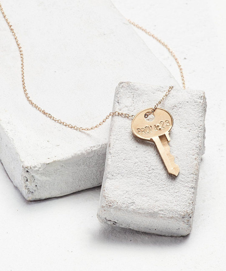 Scripture Dainty Key Necklace Necklaces The Giving Keys Prov 4:23 Dainty Gold