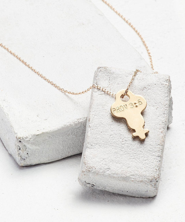 Scripture Dainty Key Necklace Necklaces The Giving Keys Prov 3:5 Dainty Gold