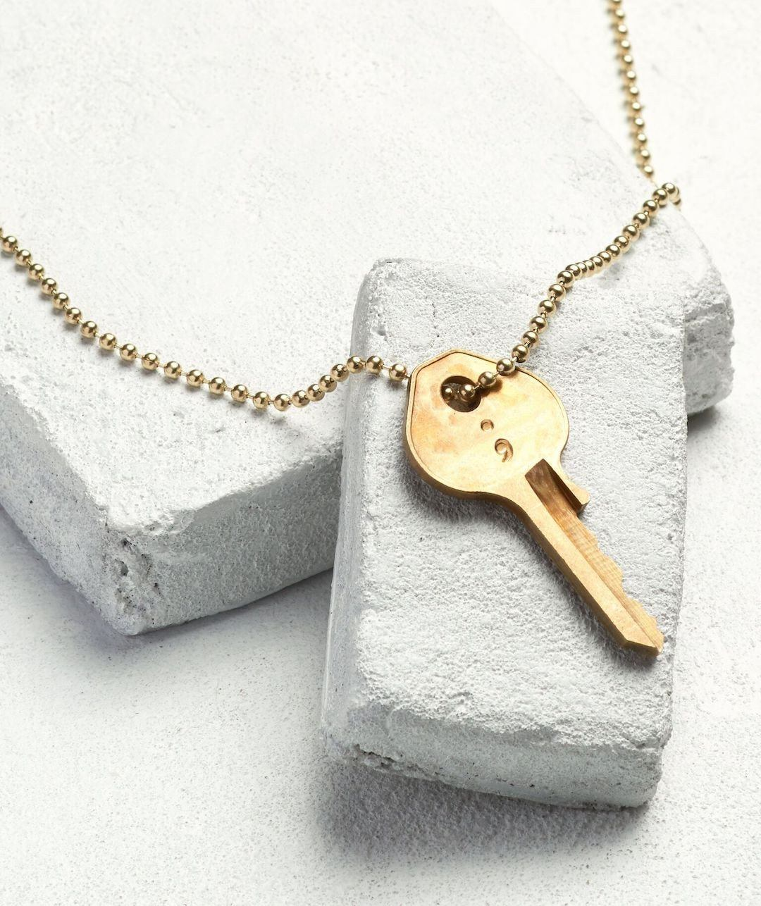 Semicolon Classic Ball Chain Key Necklace Necklaces The Giving Keys SEMICOLON Gold Ball