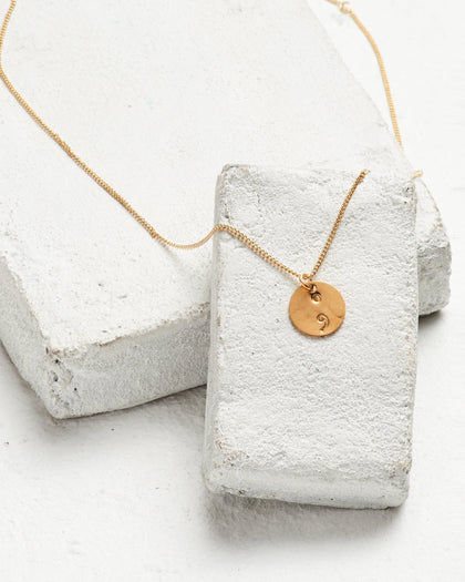 Semicolon Disc Pendant Necklace Necklaces The Giving Keys SEMICOLON Gold