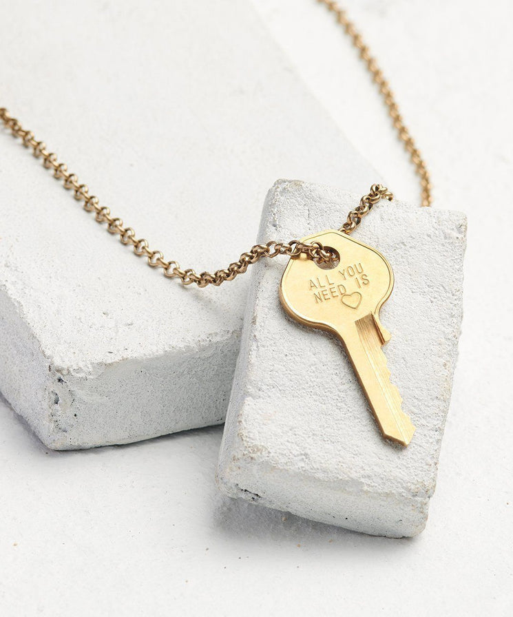 Statement Classic Key Necklace Necklaces The Giving Keys All You Need Is... Antique Gold