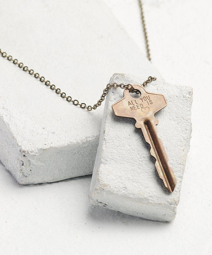 Statement Classic Key Necklace Necklaces The Giving Keys All You Need Is... Oxidized Brass