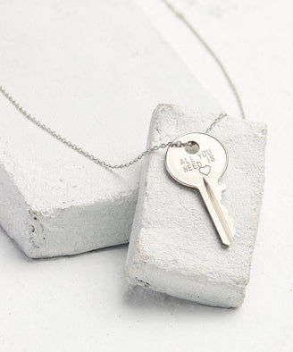 Statement Dainty Key Necklace Necklaces The Giving Keys All You Need Is... Dainty Silver