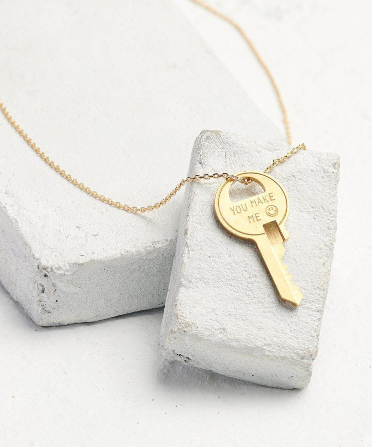 Statement Dainty Key Necklace Necklaces The Giving Keys You Make Me... Dainty Gold