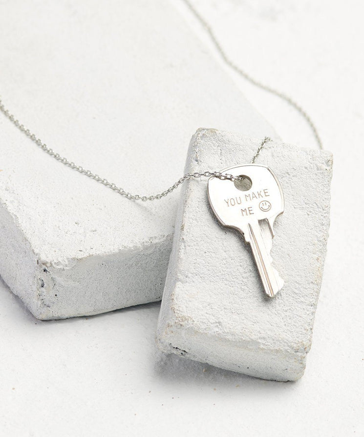 Statement Dainty Key Necklace Necklaces The Giving Keys You Make Me... Dainty Silver