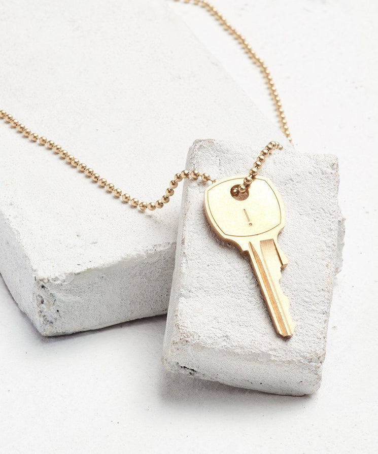Symbol Classic Ball Chain Key Necklace Necklaces The Giving Keys EXCLAMATION POINT Gold Ball