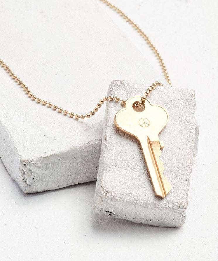 Symbol Classic Ball Chain Key Necklace Necklaces The Giving Keys PEACE SIGN Gold Ball