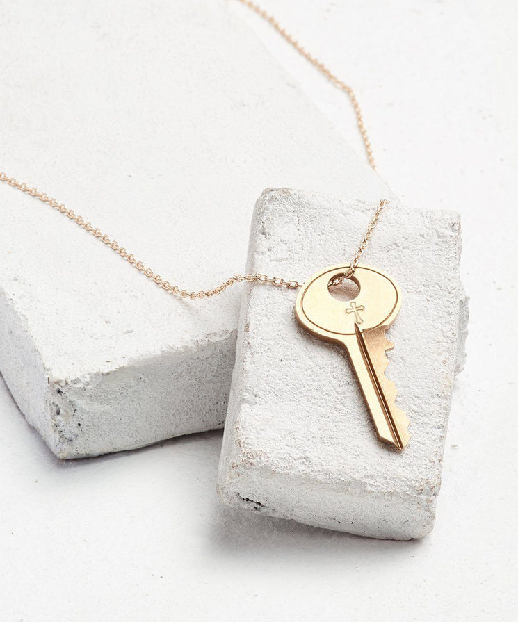 Symbol Dainty Key Necklace Necklaces The Giving Keys CROSS Dainty Gold
