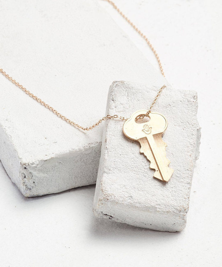 Symbol Dainty Key Necklace Necklaces The Giving Keys HAMSA HAND Dainty Gold