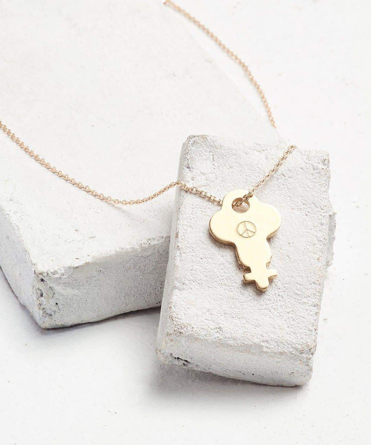 Symbol Dainty Key Necklace Necklaces The Giving Keys PEACE SIGN Dainty Gold