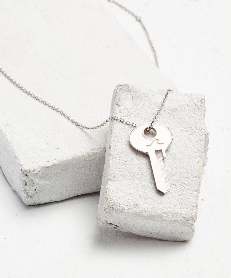 Symbol Dainty Key Necklace Necklaces The Giving Keys WAVE Dainty Silver