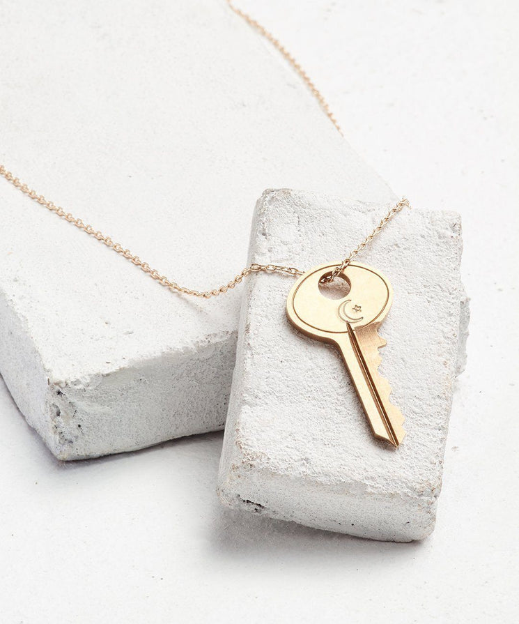 Symbol Dainty Key Necklace Necklaces The Giving Keys CRESCENT MOON AND STAR Dainty Gold
