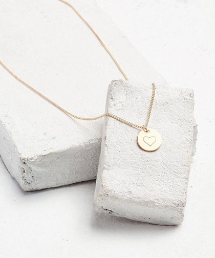 Symbol Disc Pendant Necklace Necklaces The Giving Keys HEART Gold