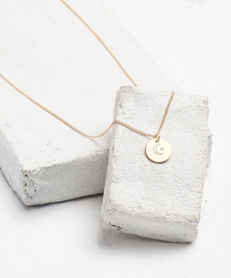 Symbol Disc Pendant Necklace Necklaces The Giving Keys CRESCENT MOON AND STAR Gold