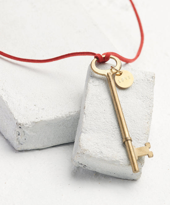 Vintage Skeleton Key Cord Necklace Necklaces The Giving Keys Word Assigned by Color Red/Love