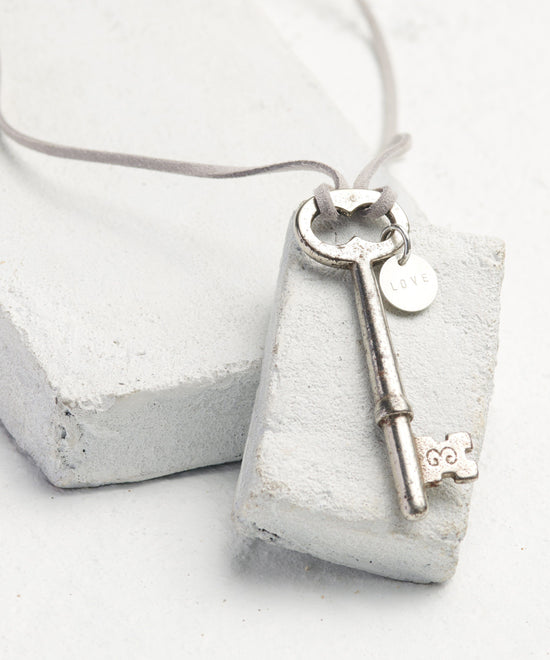 Vintage Skeleton Key Cord Necklace Necklaces The Giving Keys Word Assigned by Color Gray/Love