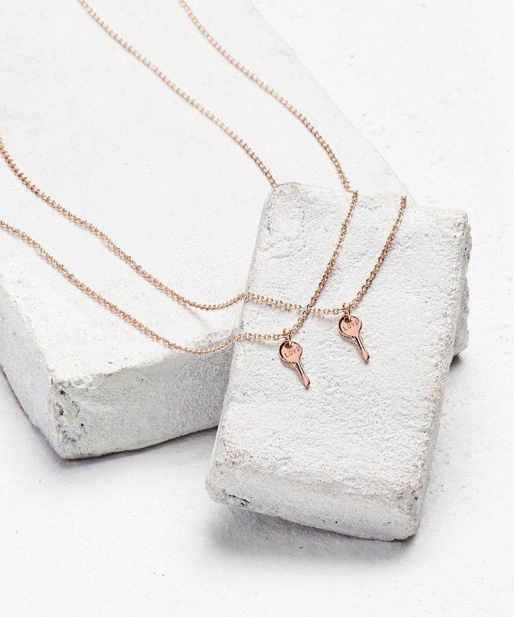 Rose Gold Best Friend Mini Key Necklace Set (2) Necklaces The Giving Keys LOVE Rose Gold
